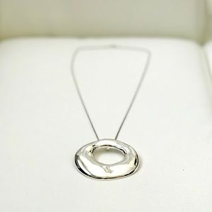 Silver Oval-shaped Pendant Necklace